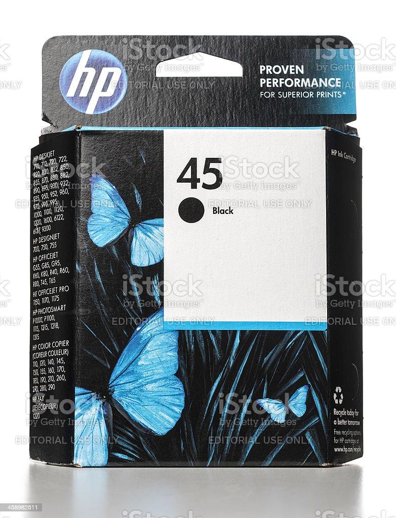 HP 45 Black Ink cartridge stock photo