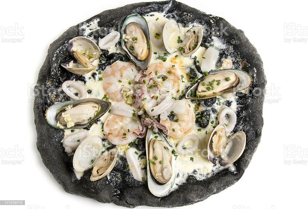 Black Ink Dough Pizza with Seafood royalty-free stock photo