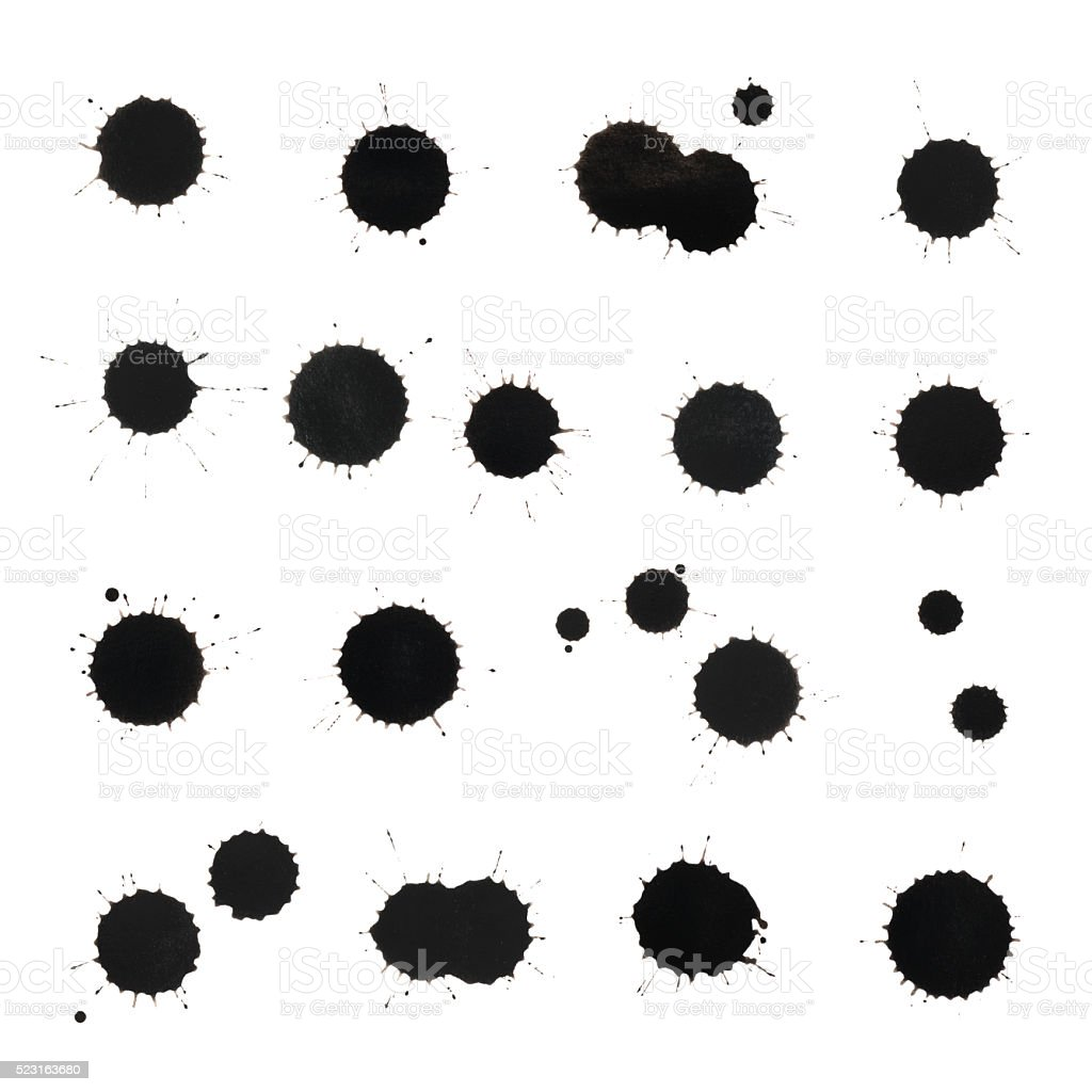 Black ink stain spot collection stock photo