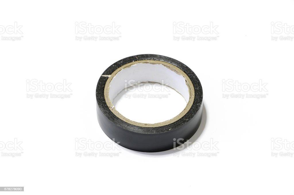 black insulating tape on white background stock photo