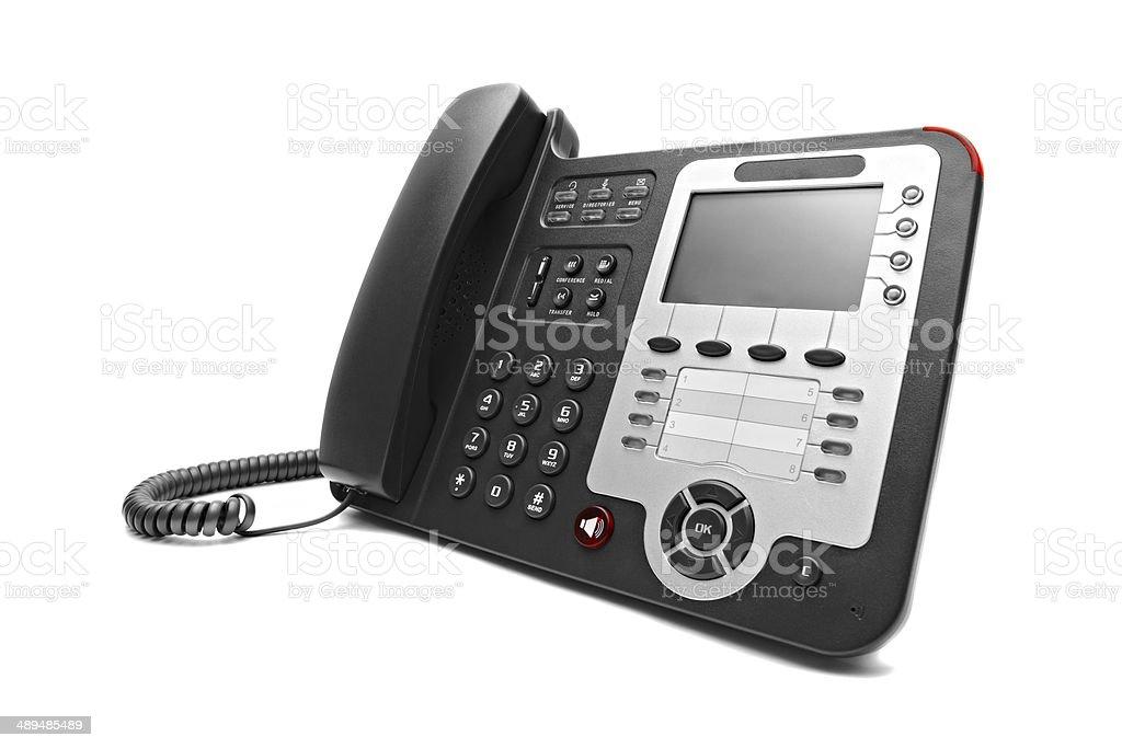 Black IP office phone isolated stock photo