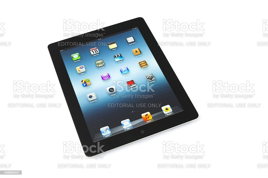 black ipad3 on white background royalty-free stock photo