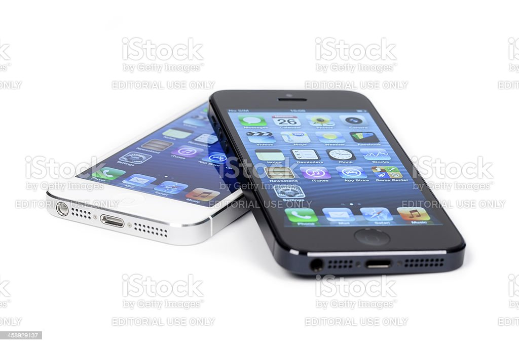 Black iPhone 5 on white royalty-free stock photo
