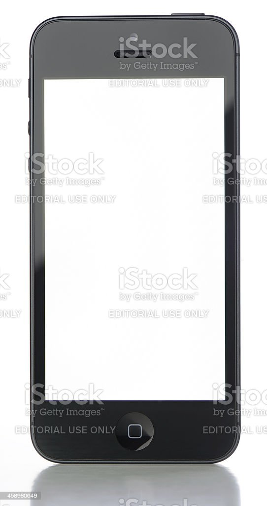 Black iPhone 5 with Blank White Screen royalty-free stock photo
