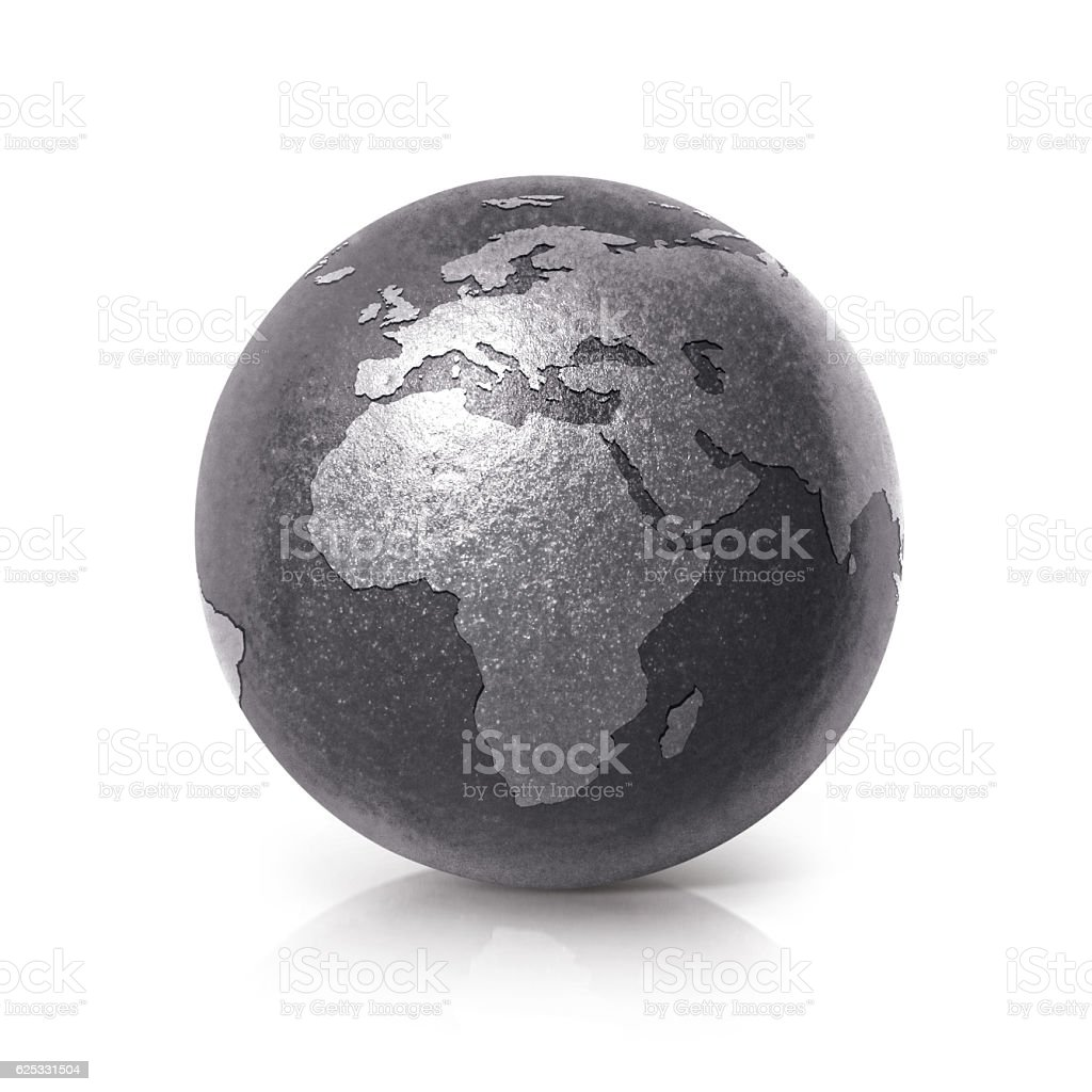 Black iron globe 3D illustration europe and africa map stock photo