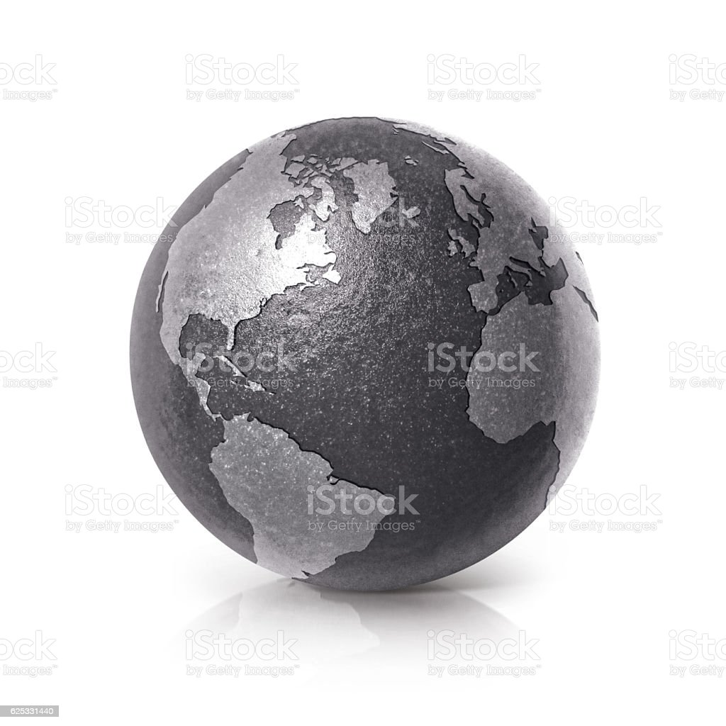 Black iron globe 3D illustration North and South America map stock photo