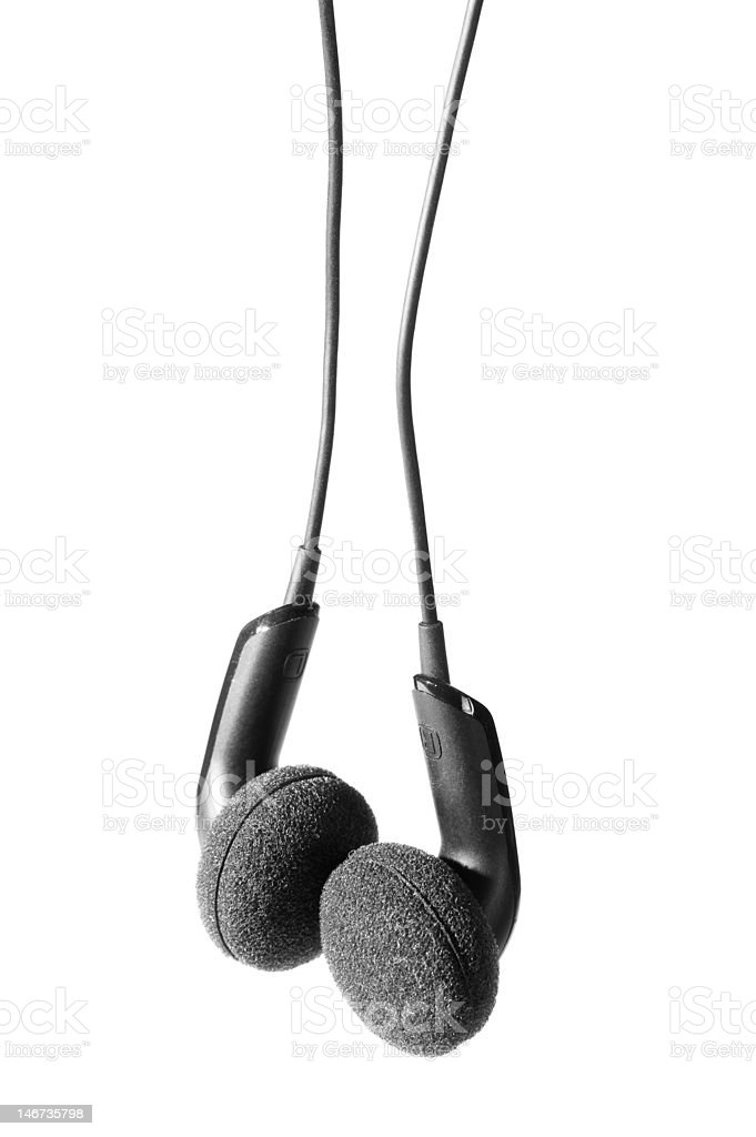 Black isoladed fones de ouvido foto royalty-free