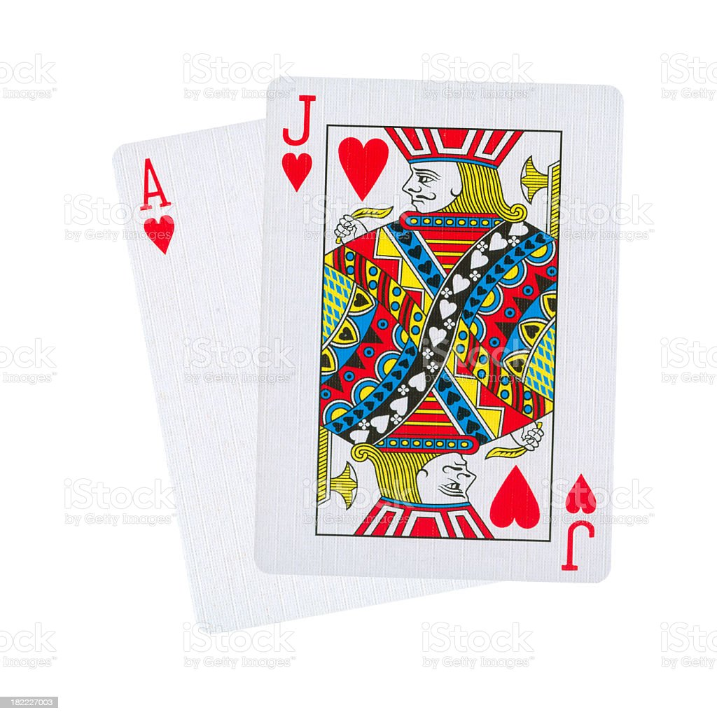 Black Jack in hearts isolated on white stock photo