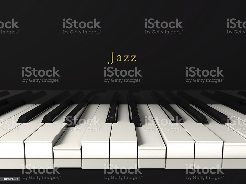 Black jazz piano. Front view stock photo