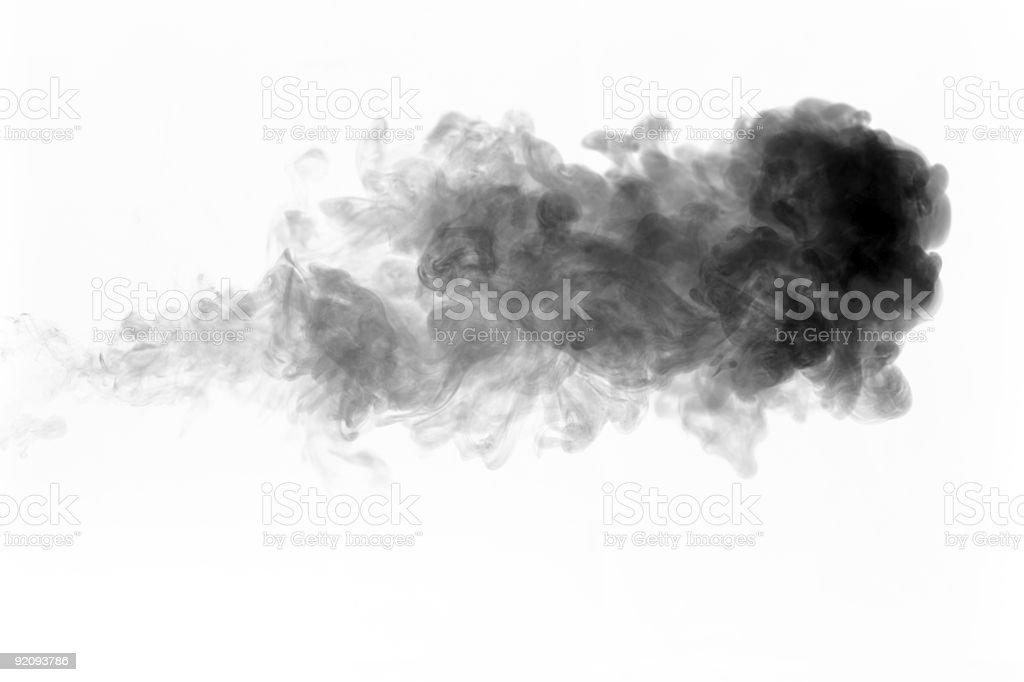 Black jet of smoke stock photo