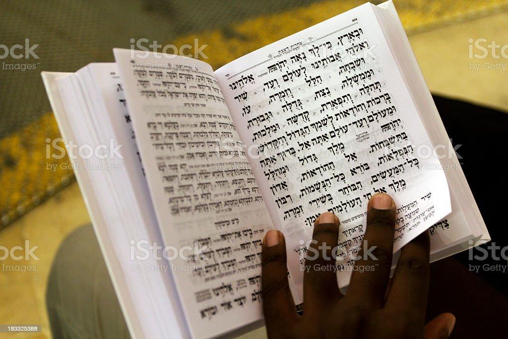 Black jew reading the sidur royalty-free stock photo