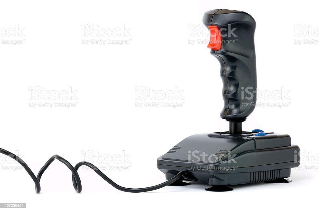 Black joystick on white background stock photo