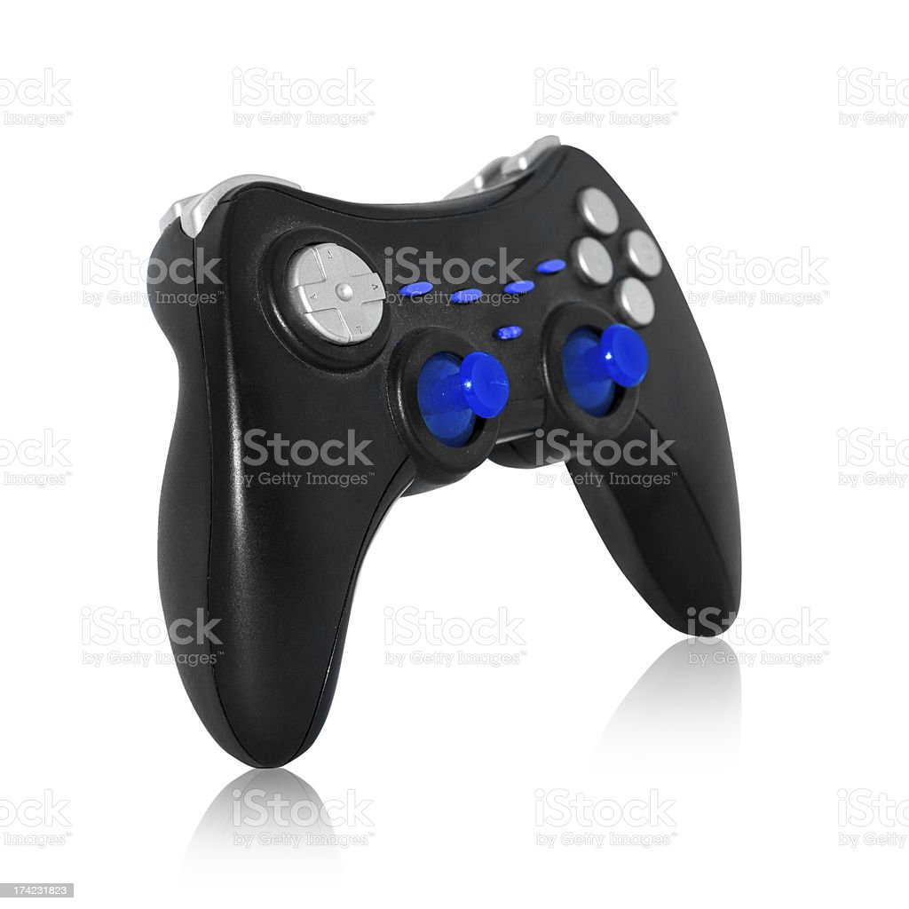 Black joystick on white background royalty-free stock photo