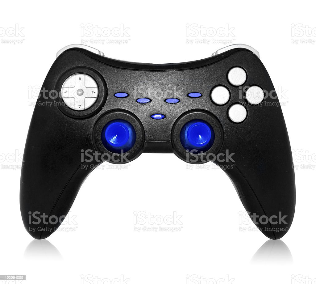 black joystick with gray and blue buttons royalty-free stock photo