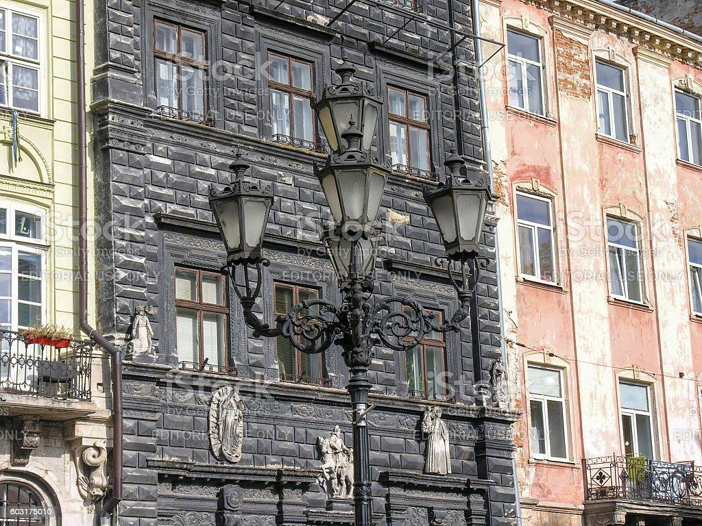 Black Kamenica at Market Square in Lviv stock photo