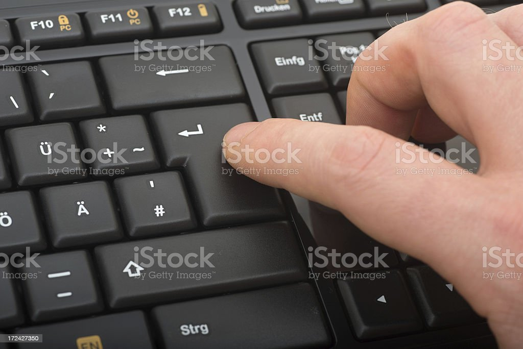 black keyboard macro close-up with fingers royalty-free stock photo