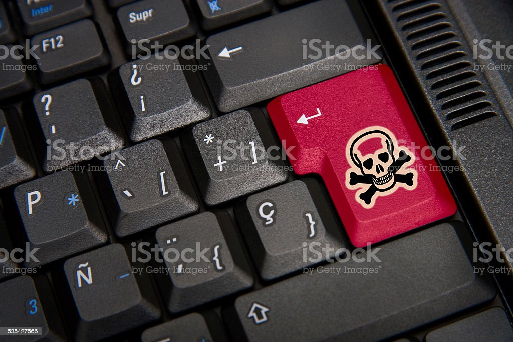 Black keyboard with skull stock photo