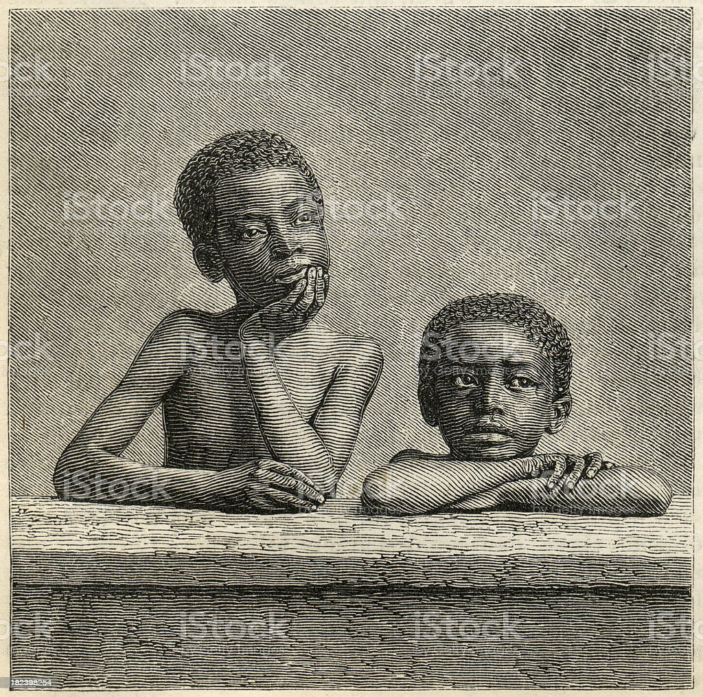 Black Kids Engrave royalty-free stock photo