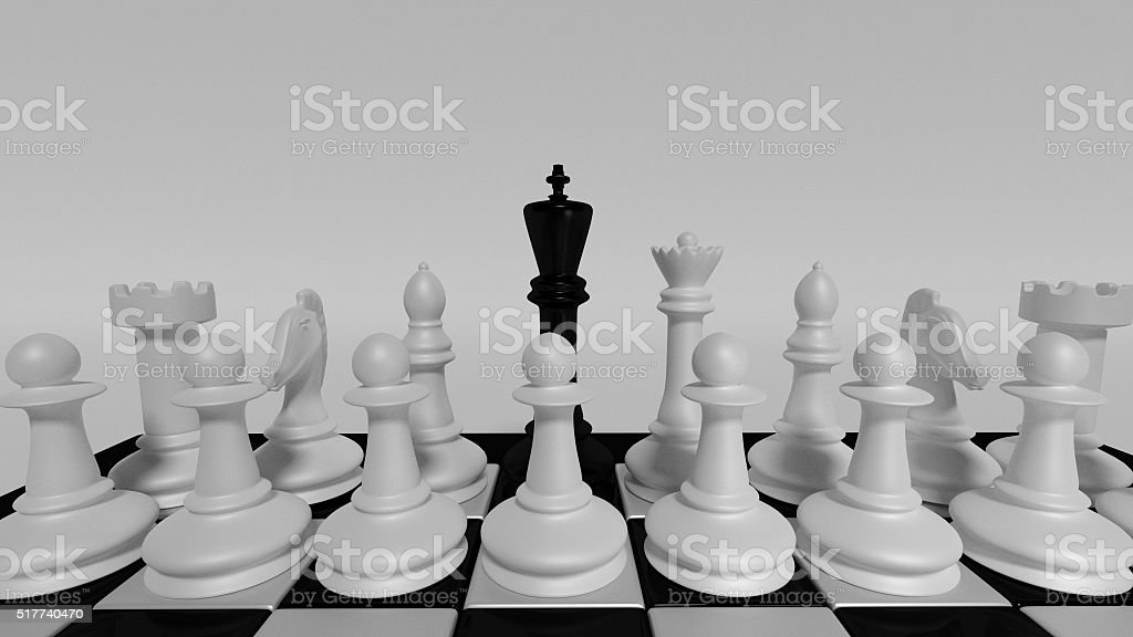 black king for white pieces stock photo