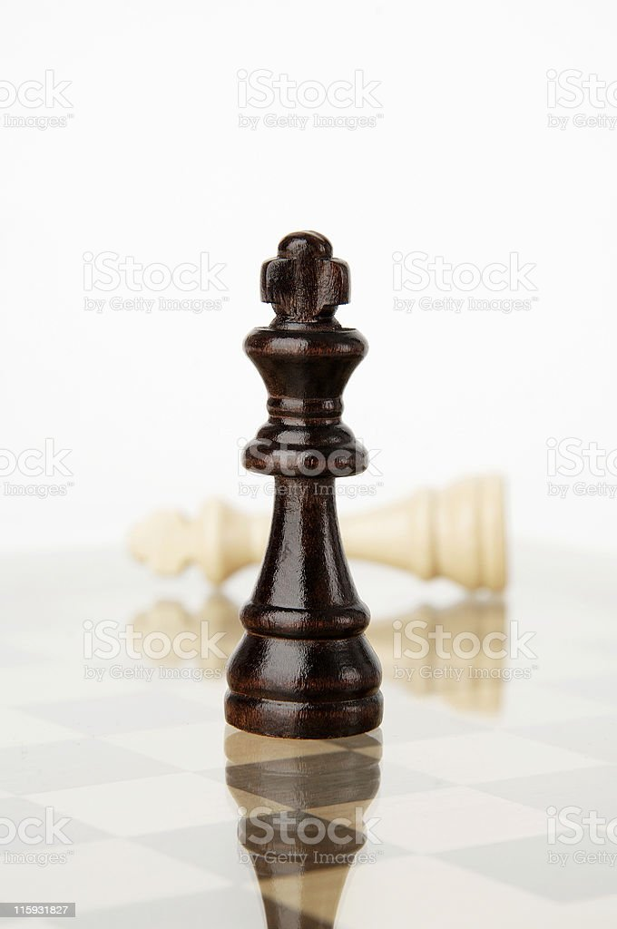 Black king win, Checkmate royalty-free stock photo
