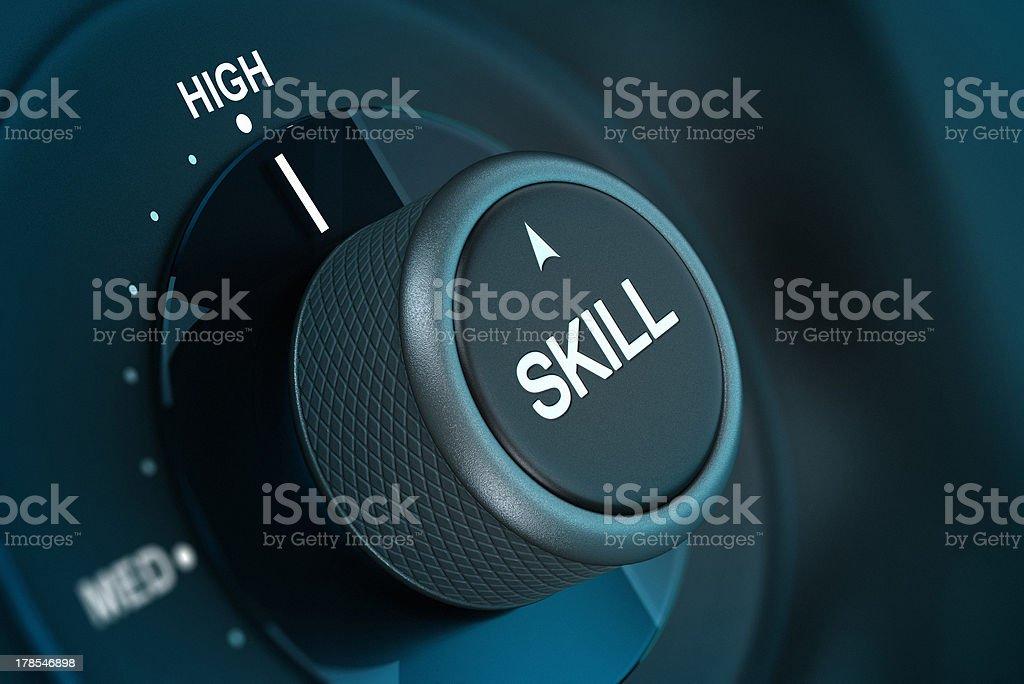 Black knob to turn up or turn down skill level stock photo