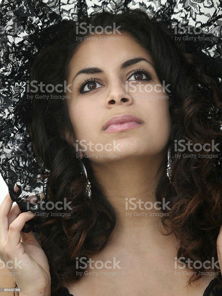 Black lace beauty stock photo