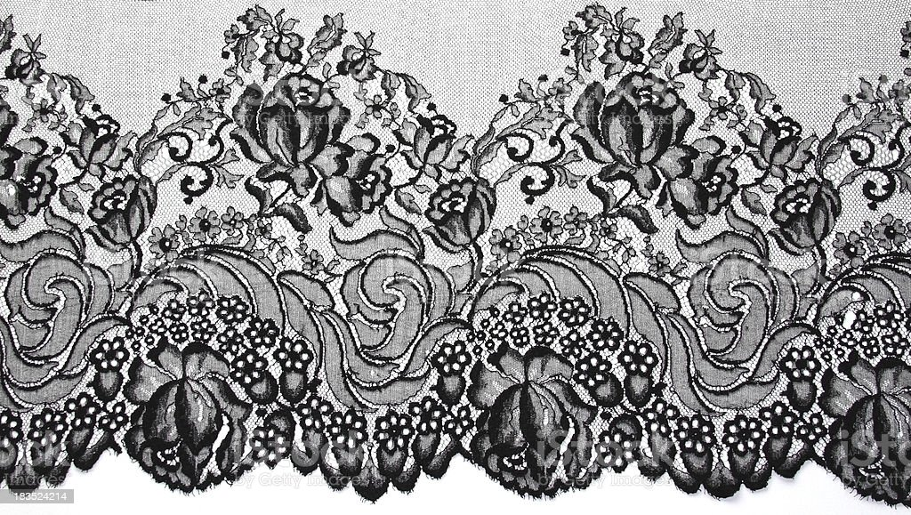 Black Lace Vintage Floral Pattern royalty-free stock photo
