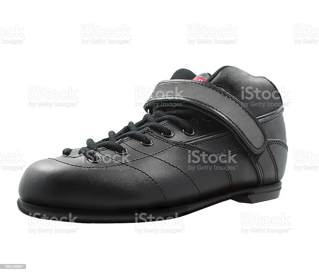 black lace-up shoe made of leather stock photo