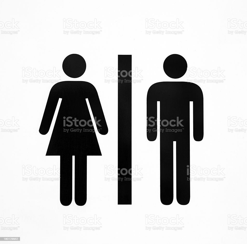 Black ladies and gents toilet icons on a white background stock photo