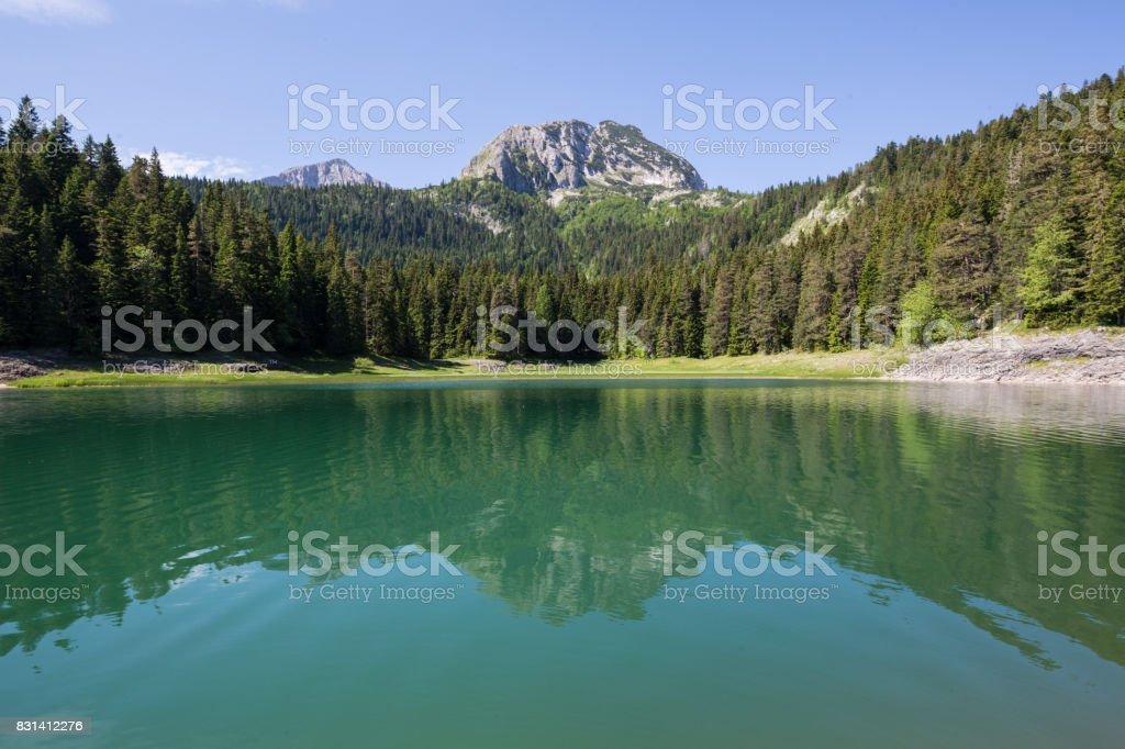 Black lake Durmitor Nationalpark Montenegro stock photo