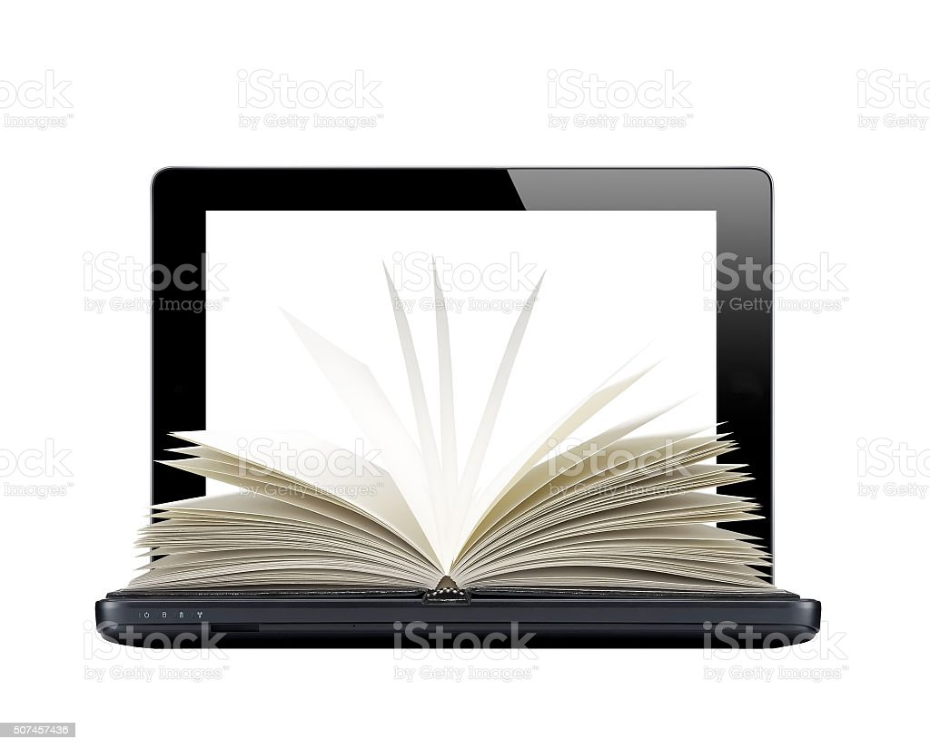 Black laptop and openned book isolated on white background stock photo
