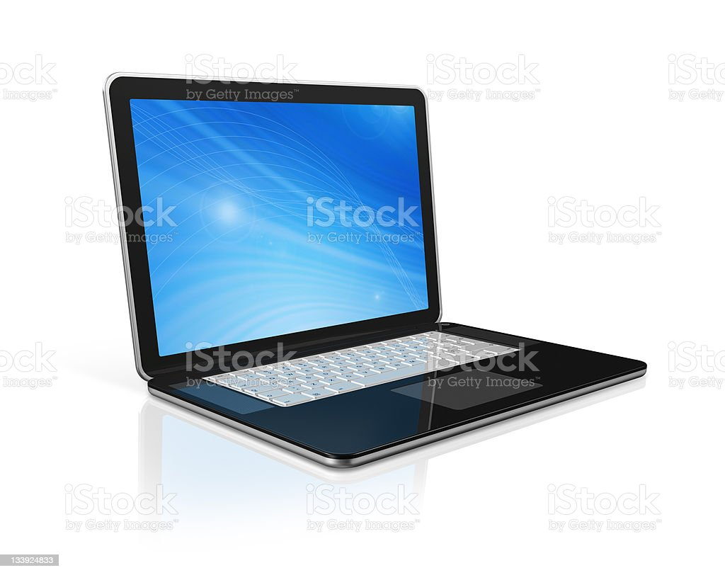 black Laptop computer isolated on white royalty-free stock photo