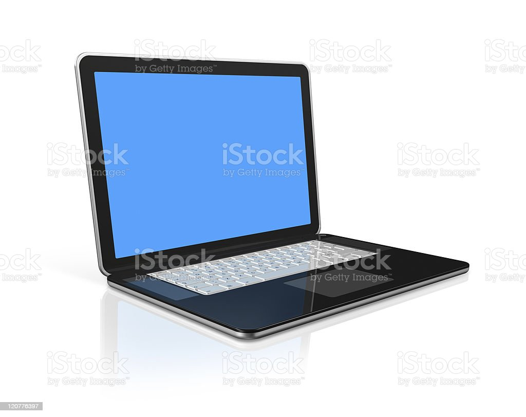 black Laptop computer isolated on white with clipping path royalty-free stock photo