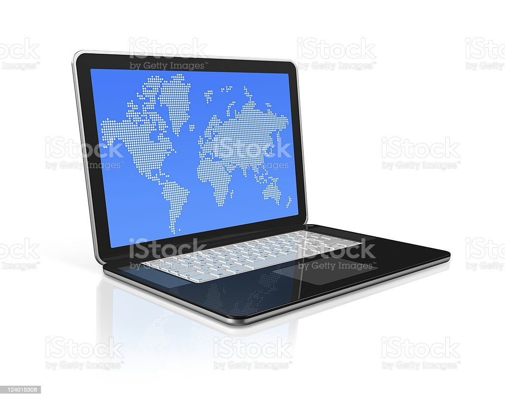 black Laptop computer isolated with worldmap on screen royalty-free stock photo