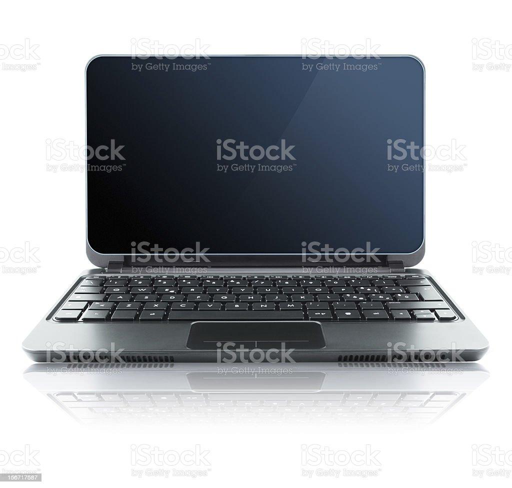 Black laptop on white background royalty-free stock photo