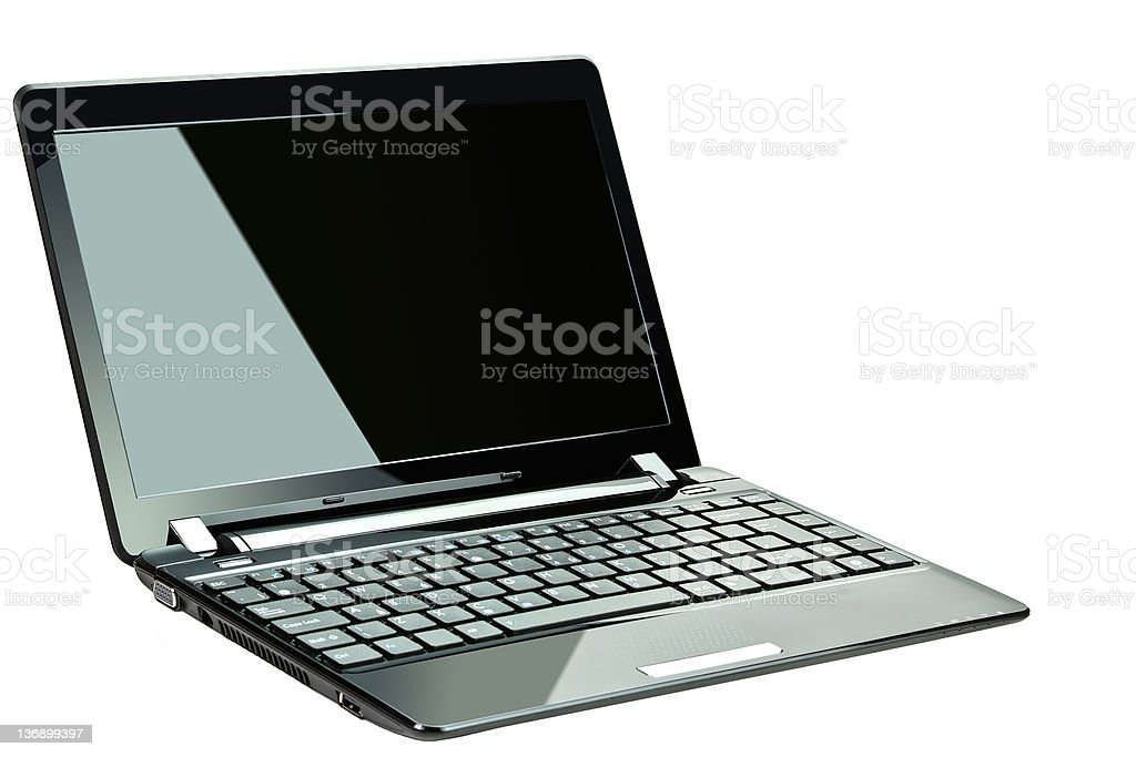 Black laptop over white background stock photo