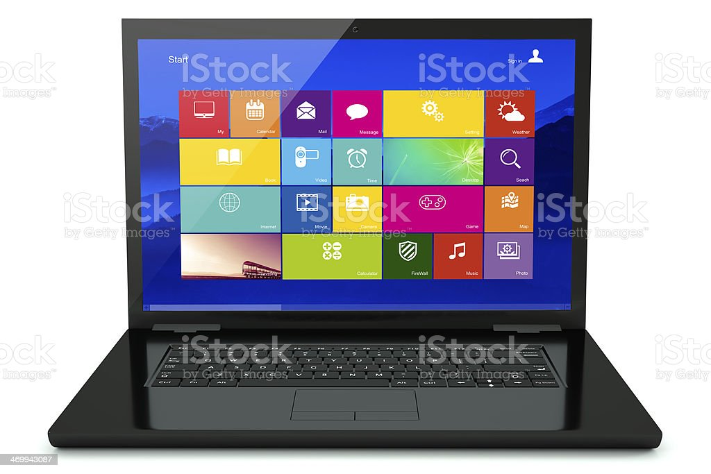Black laptop with icon stock photo