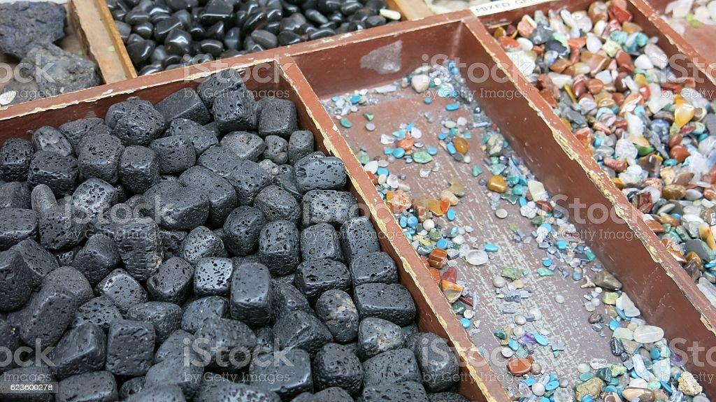 Black Lava Rock Cubes Polished Gem Geodes For Sale stock photo
