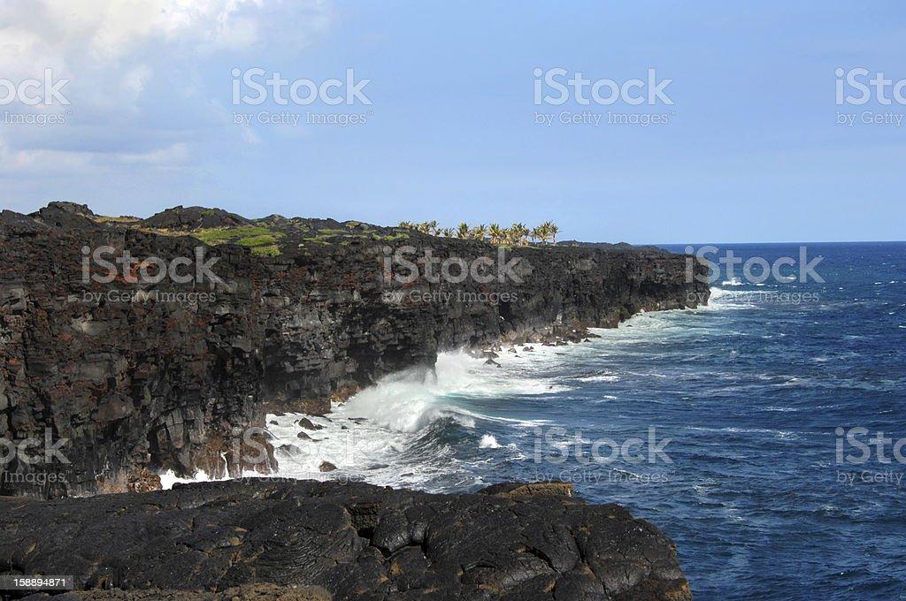 Black lava sea cliffs royalty-free stock photo
