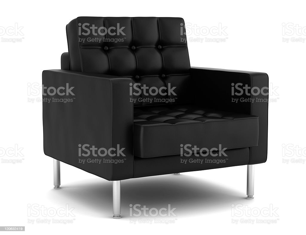 black leather armchair isolated on white background stock photo
