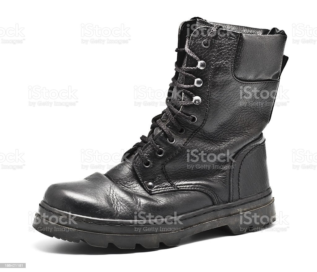 Black Leather Army Boot royalty-free stock photo