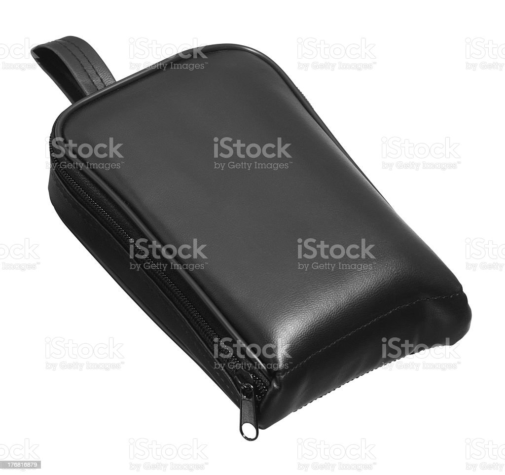 black leather bag stock photo
