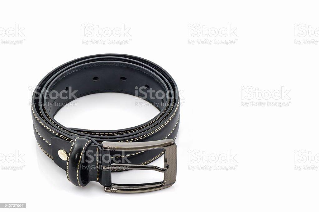 Black leather belt for men. stock photo
