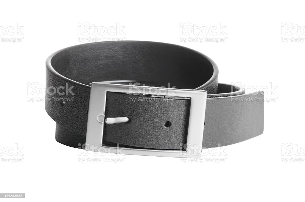 A black leather belt with chrome buckle stock photo