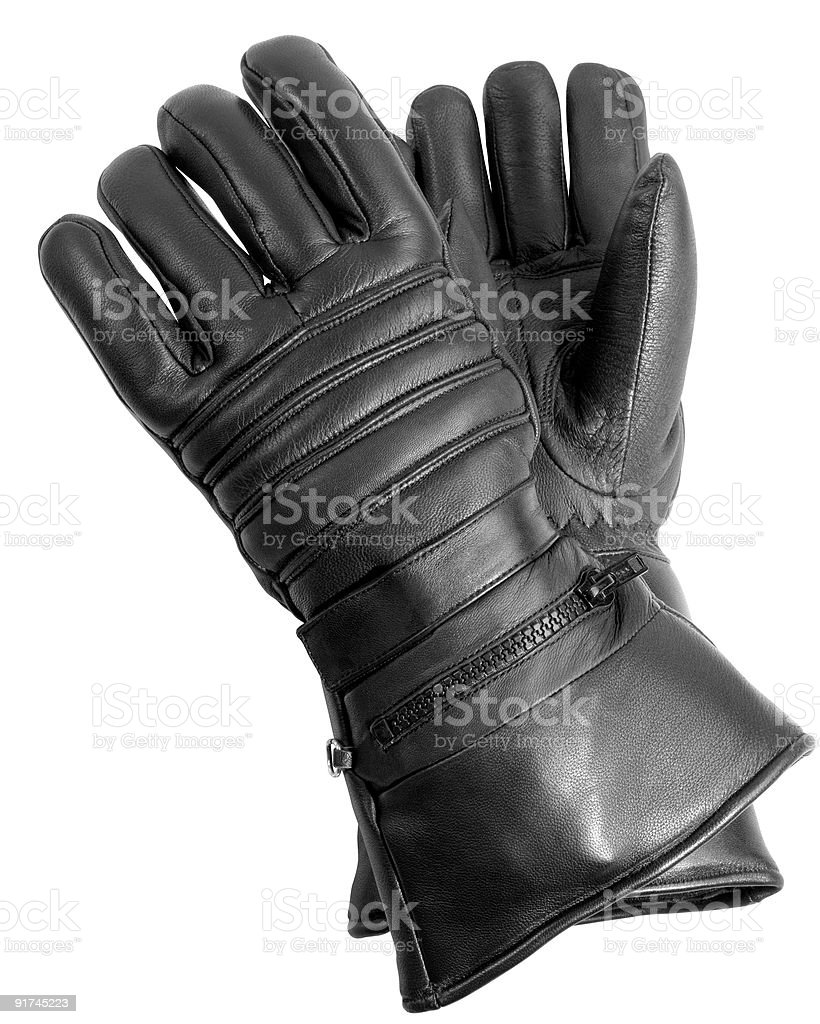 Black Leather Biker Gloves stock photo