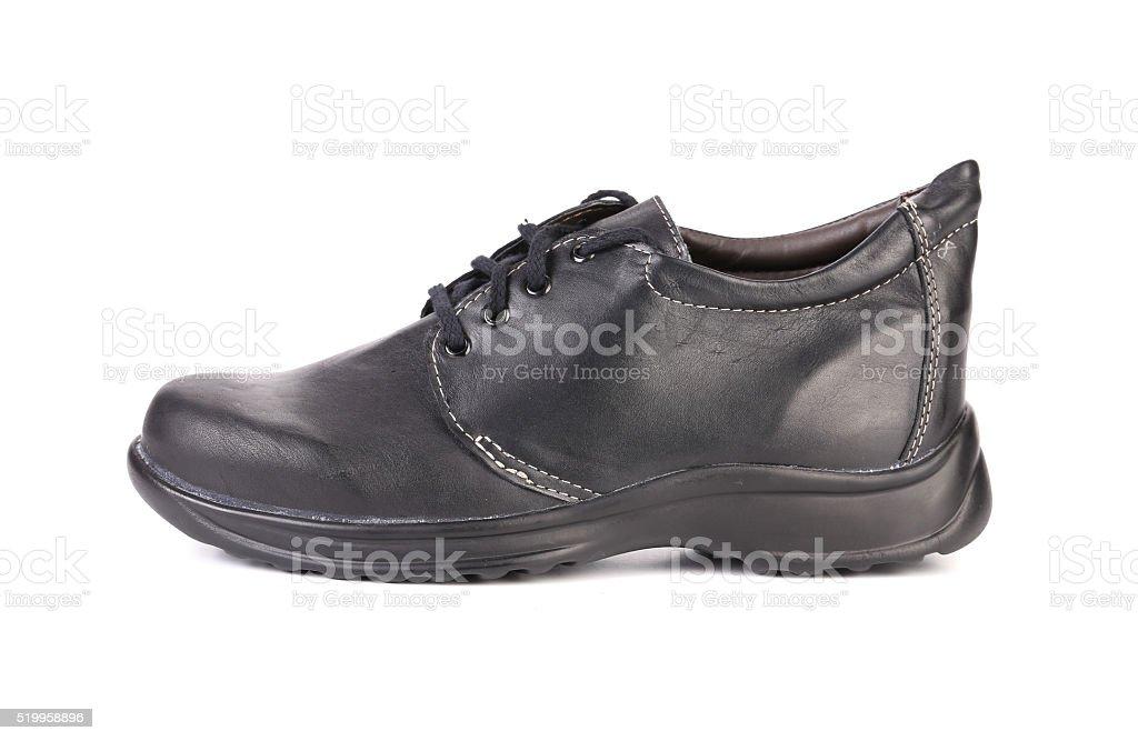 Black leather boot. stock photo