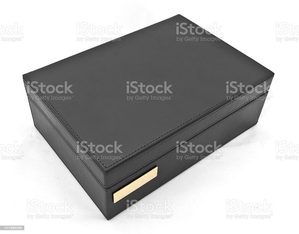 Scatola in pelle nera, isolato su sfondo bianco foto stock royalty-free