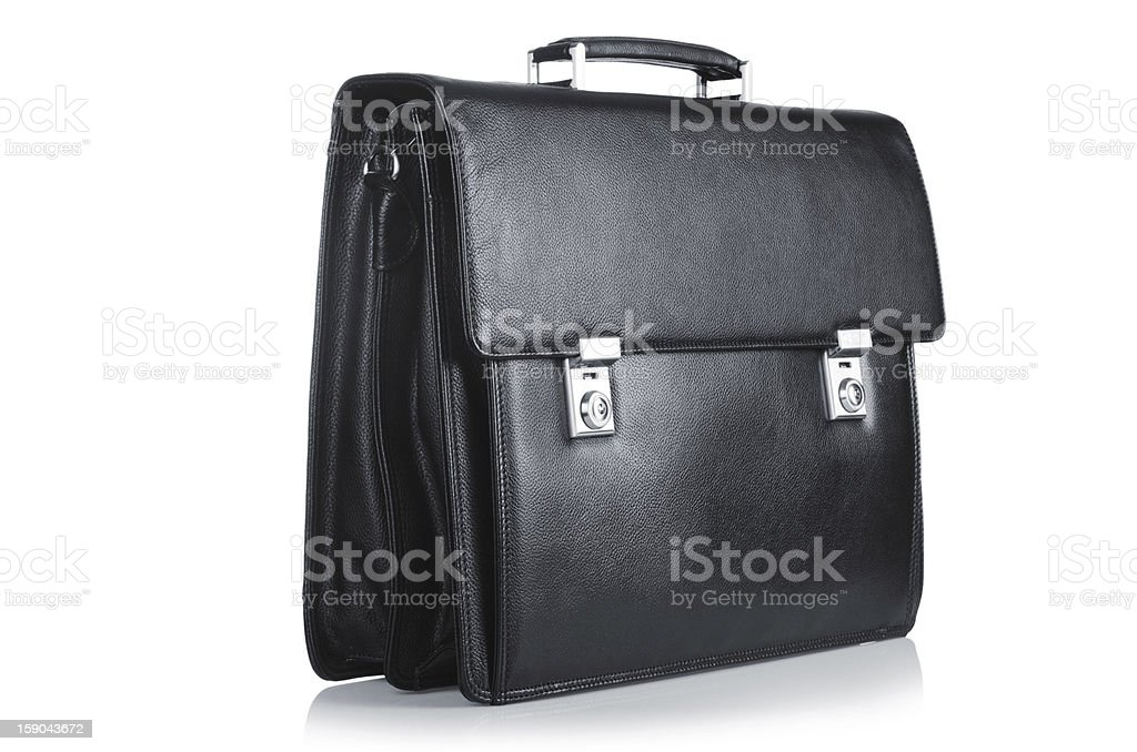 Black leather briefcase isolated on the white stock photo