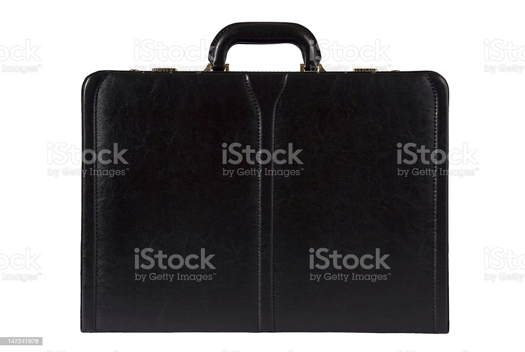 black leather briefcase isolated on white royalty-free stock photo