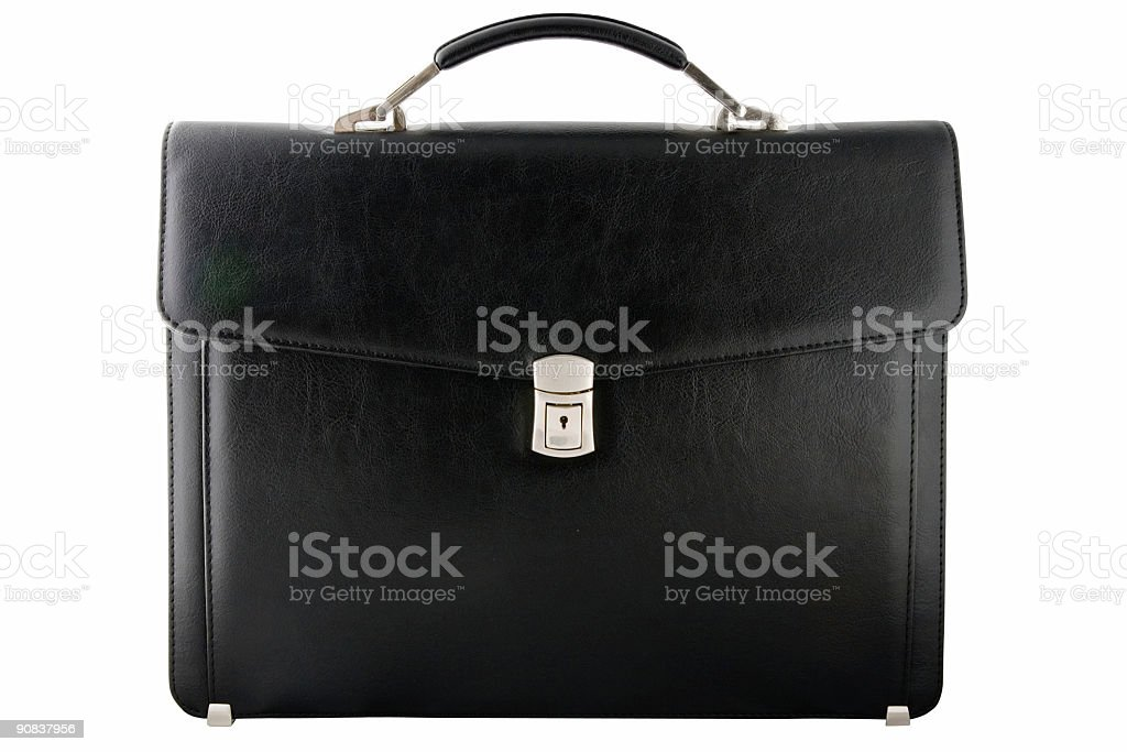 black leather briefcase(clipping path) stock photo
